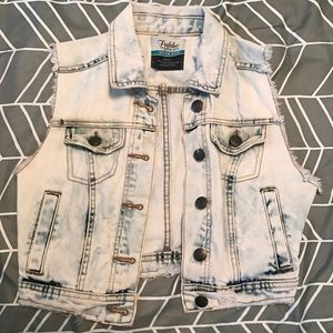 ZARA Acid Wash Denim Cropped Vest